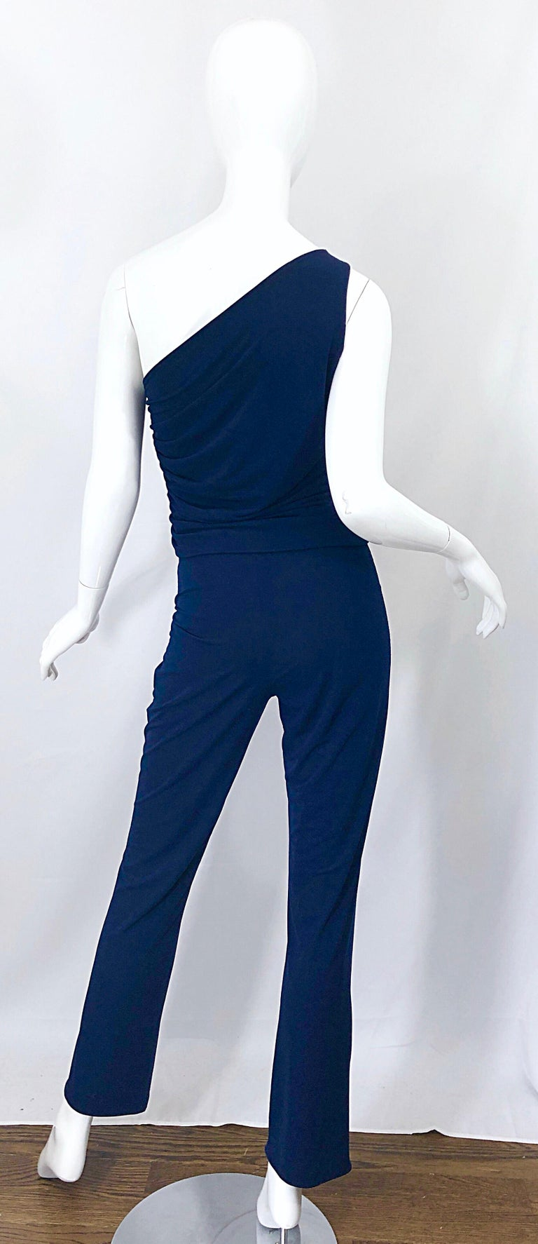 Vintage Norma Kamali OMO 1980s Navy Blue One Shoulder 80s Top and Pants Jumpsuit For Sale 1