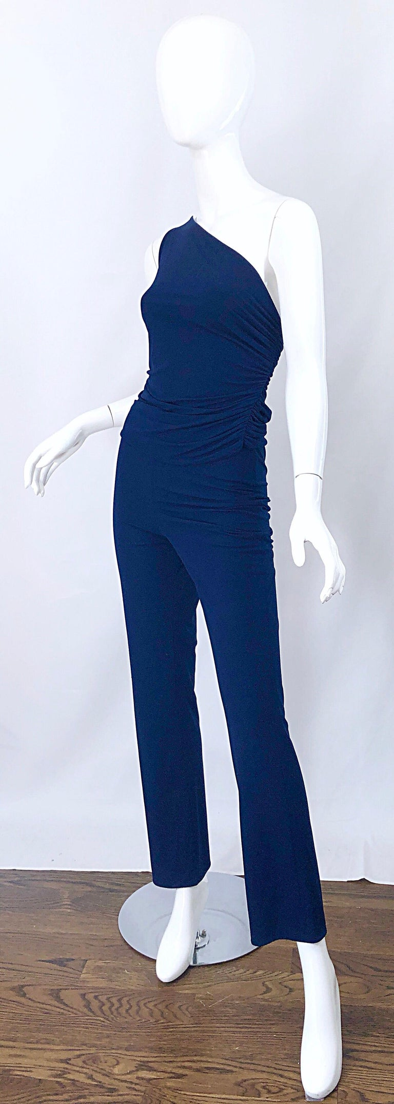 Vintage Norma Kamali OMO 1980s Navy Blue One Shoulder 80s Top and Pants Jumpsuit For Sale 2