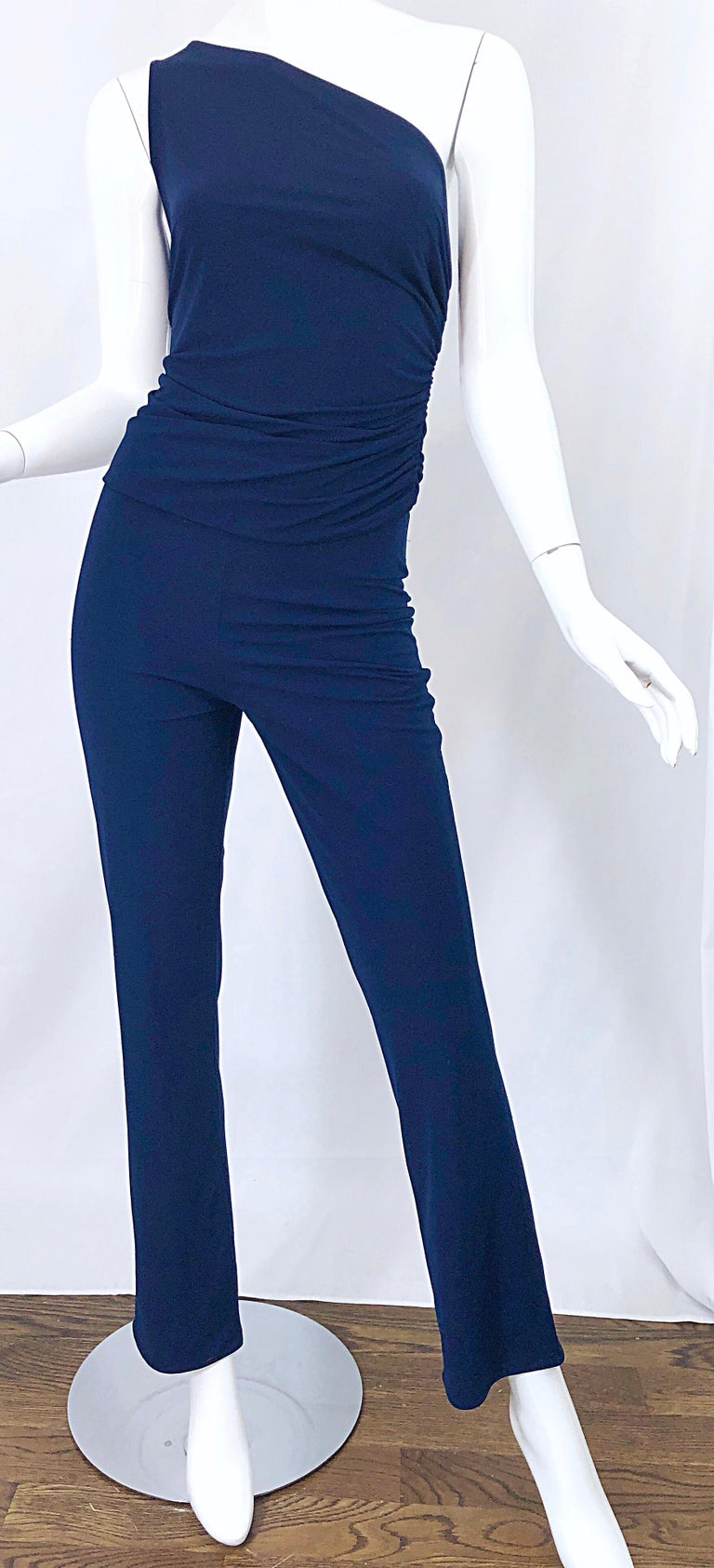 Vintage Norma Kamali OMO 1980s Navy Blue One Shoulder 80s Top and Pants Jumpsuit For Sale 3