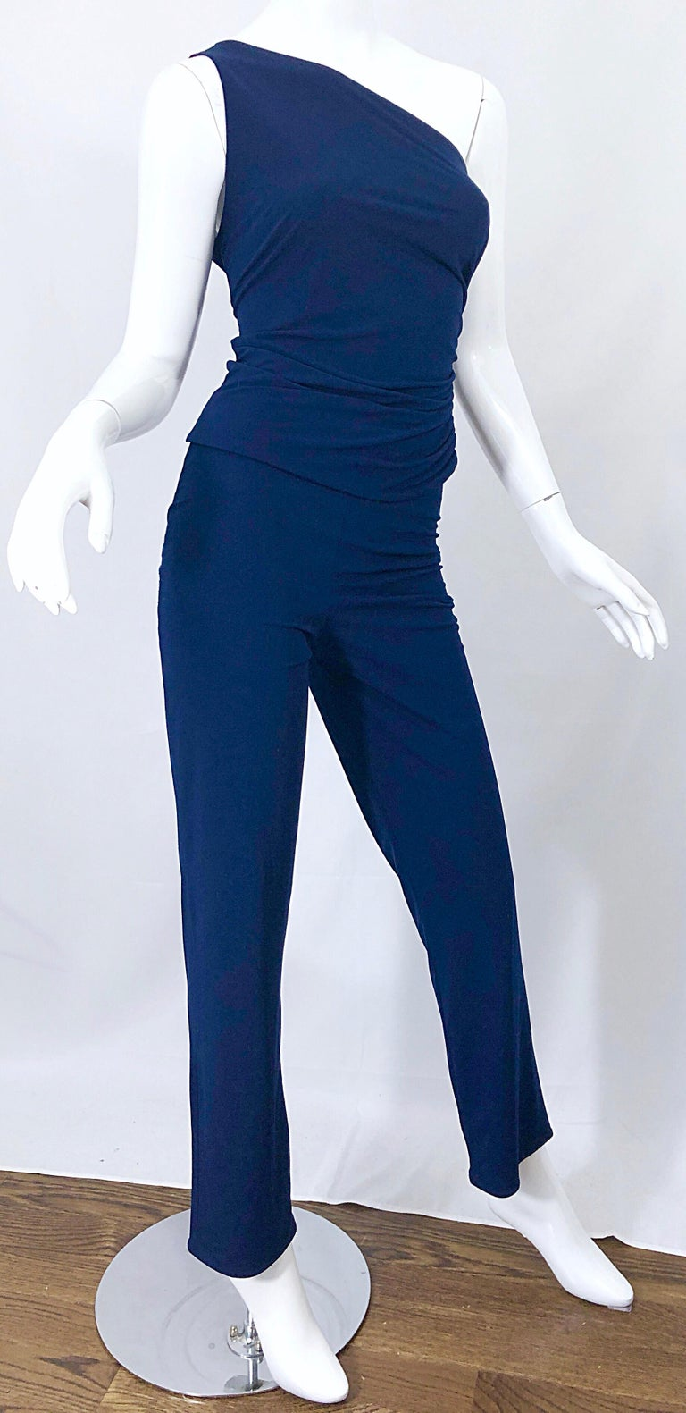 Vintage Norma Kamali OMO 1980s Navy Blue One Shoulder 80s Top and Pants Jumpsuit For Sale 4