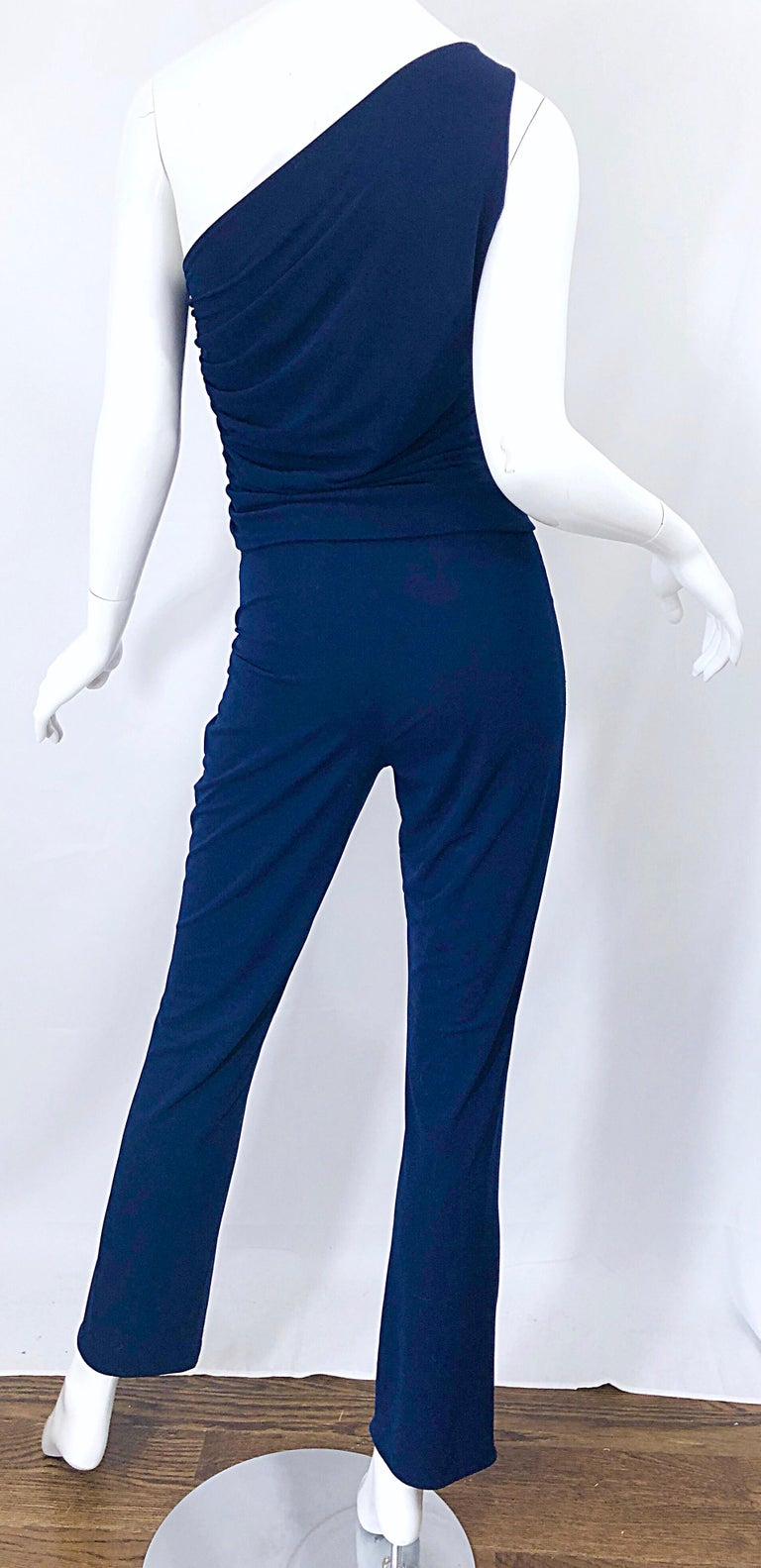Vintage Norma Kamali OMO 1980s Navy Blue One Shoulder 80s Top and Pants Jumpsuit For Sale 5