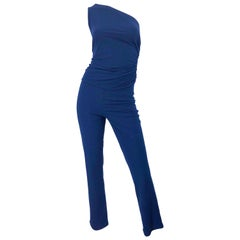 Vintage Norma Kamali OMO 1980s Navy Blue One Shoulder 80s Top and Pants Jumpsuit