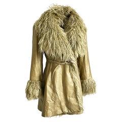 Vintage Norma Kamali OMO Leather Jacket with Shaggy Mongolian Lamb Trim Sz 2