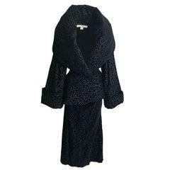 Vintage Norma Kamali Shawl Collar Jacket & Skirt Suit 2pc Set Black Velvet 6/8