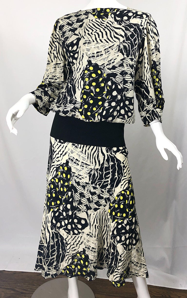 Vintage Norma Walters Size 8 Black White Yellow