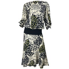 Vintage Norma Walters Size 8 Black + White + Yellow Abstract Drop Waist Dress
