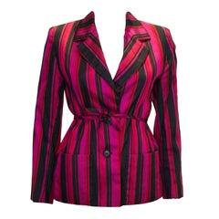 Vintage Norman Hartnell Silk Stripe Jaacket
