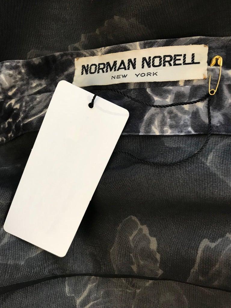 Women's Vintage Norman Norell Blue and Grey Floral Print Silk Velvet Cocktail Dress  For Sale