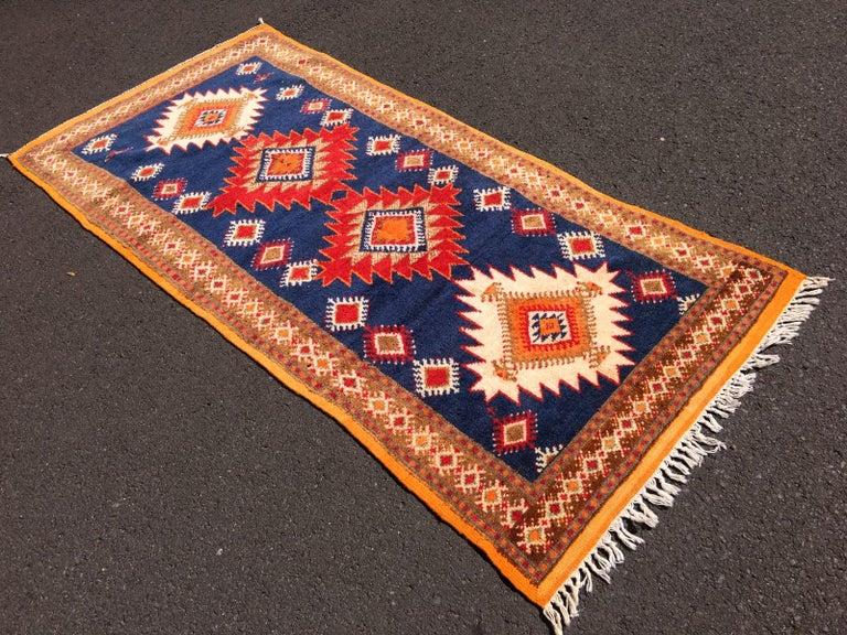 Wool Vintage North African Berber Tribal Rug Ait Khozema For Sale