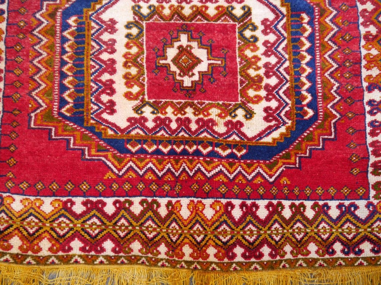 Hand-Knotted Vintage North African Berber Tribal Rug Ait Khozema from Morocco For Sale