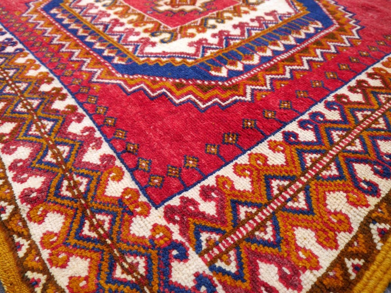 Wool Vintage North African Berber Tribal Rug Ait Khozema from Morocco For Sale