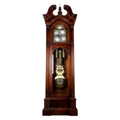 Vintage North American Mahogany Wood  Longcase Grandfather's Clock