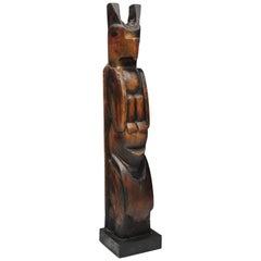 Vintage Northwest Hand Carved Wood TOTEM Pole
