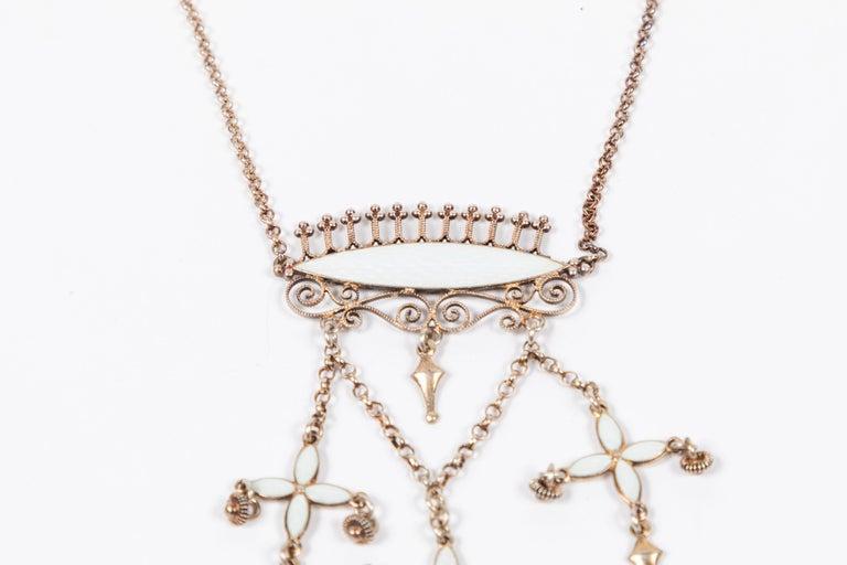 NORWEGIAN LAVALIER Necklace-Vintage Guilloche Gold On Sterling Silver-Pink Enamel-Norway Designer Hallmark-Dainty Dangling Chatelaine