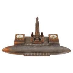 Vintage Notre Dame De Lorette Copper Double Inkwell, France 1930, B2772Y
