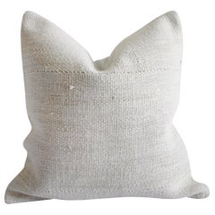 Vintage Nubby White Handwoven Minimalist Style Pillow