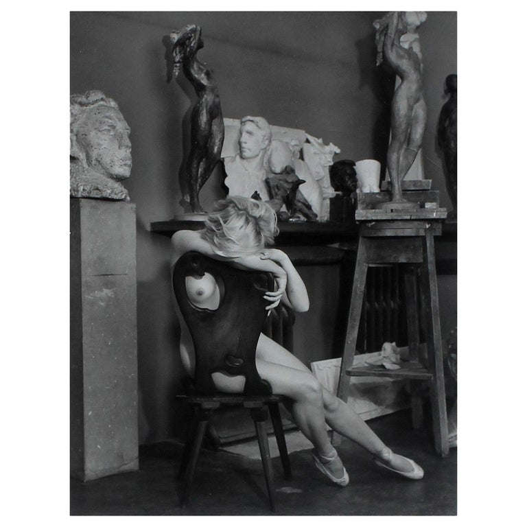 Vintage Nude Black and White Photograph by Josef Ehm For Sale