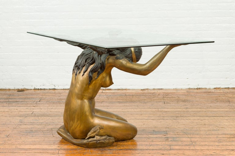 Vintage Nude Woman Lost Wax Cast Bronze Coffee Table Base with Gold Patina For Sale 7