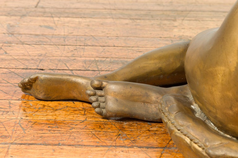 Vintage Nude Woman Lost Wax Cast Bronze Coffee Table Base with Gold Patina For Sale 10