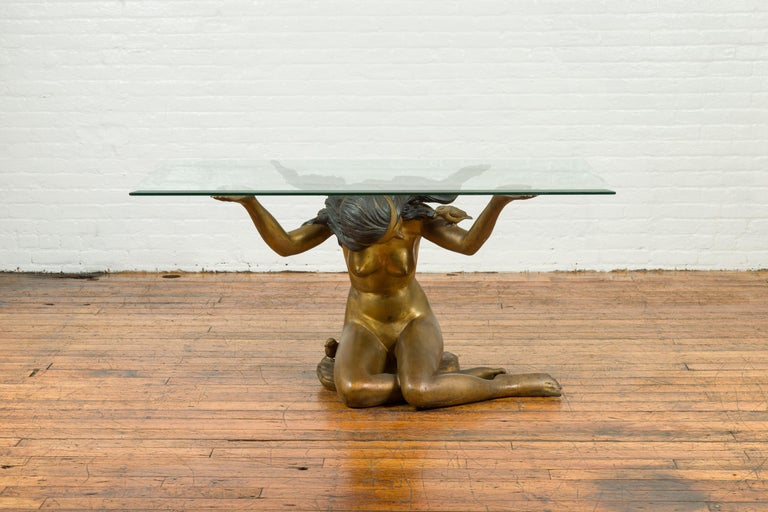 Vintage Nude Woman Lost Wax Cast Bronze Coffee Table Base with Gold Patina In Good Condition For Sale In Yonkers, NY