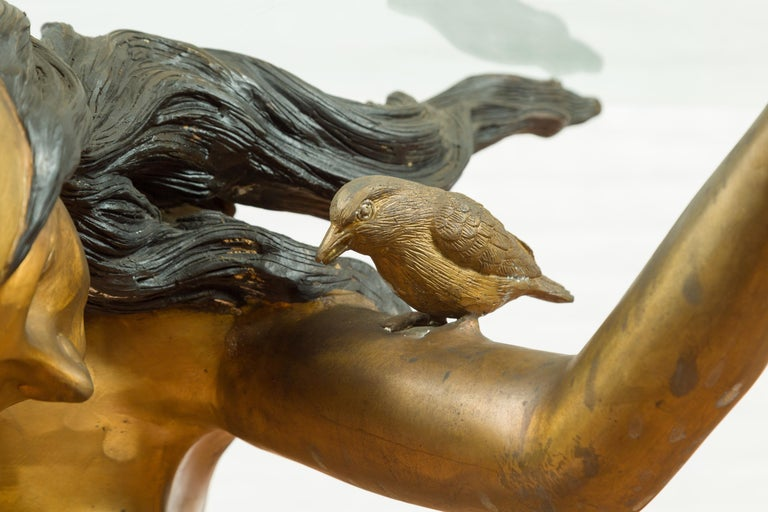 20th Century Vintage Nude Woman Lost Wax Cast Bronze Coffee Table Base with Gold Patina For Sale