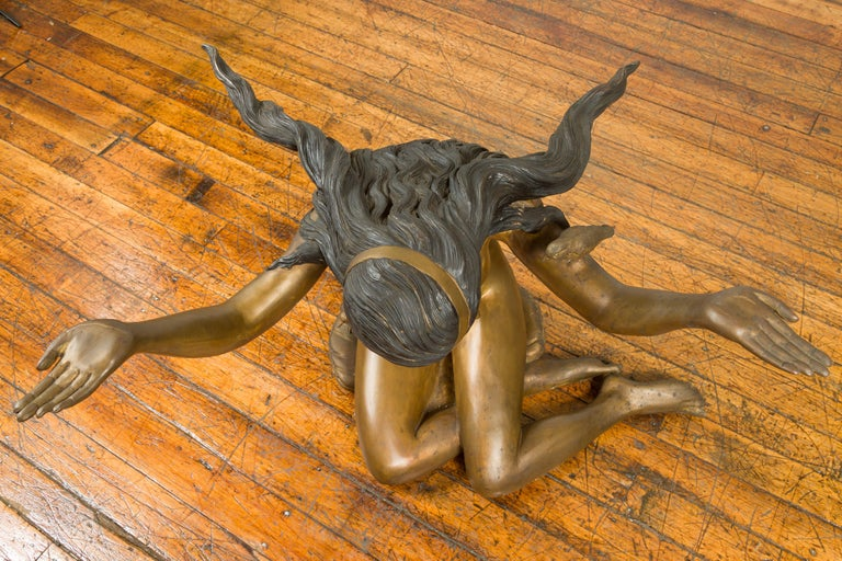 Vintage Nude Woman Lost Wax Cast Bronze Coffee Table Base with Gold Patina For Sale 4