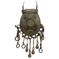 Vintage Nupe Cast Bronze Purse Container with Bells and Rings Early 20th Century