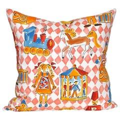 Vintage Nursery Designer's Guild English Fabric Pillow Toys Irish Linen Cushion