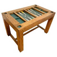 Vintage Oak and Leather Backgammon Table