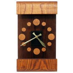 Vintage Oak and Smoked Acrylic Mod Wall Clock