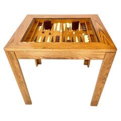 Vintage Oak and Velour Backgammon Table