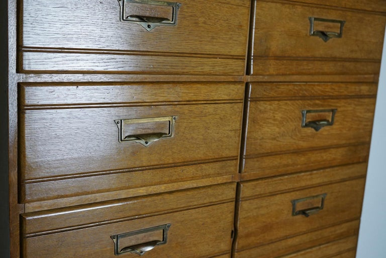 Vintage Oak Apothecary / Filing Cabinet, Luxembourg, 1930s For Sale 4