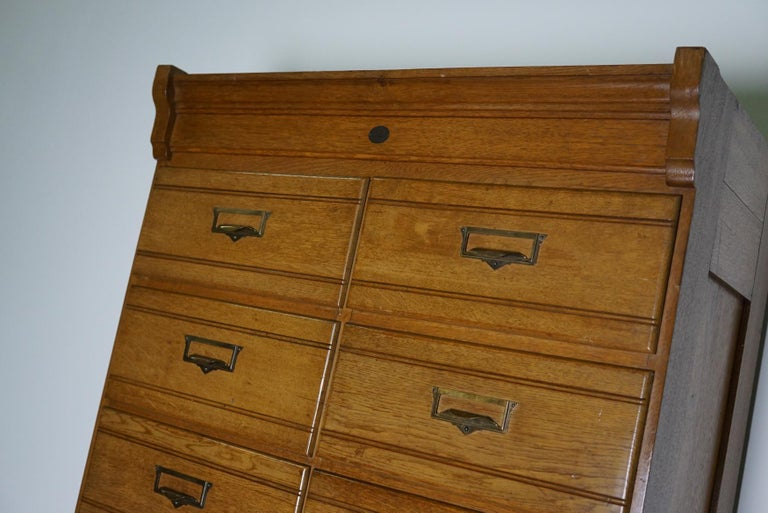 Vintage Oak Apothecary / Filing Cabinet, Luxembourg, 1930s For Sale 6