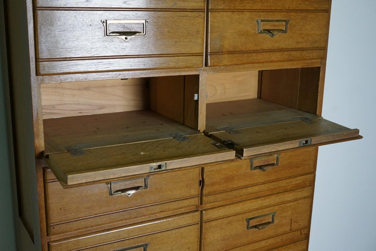 Vintage Oak Apothecary / Filing Cabinet, Luxembourg, 1930s For Sale 2