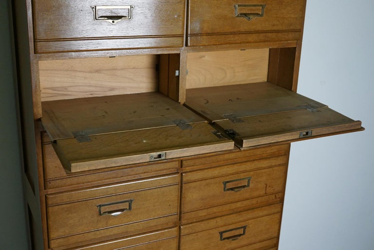 Vintage Oak Apothecary / Filing Cabinet, Luxembourg, 1930s For Sale 3
