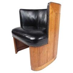 Vintage Oak Barrel Back Club Chair