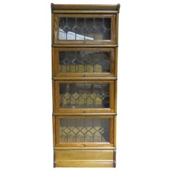 Vintage Oak Barrister Bookcase Attributed to Macey