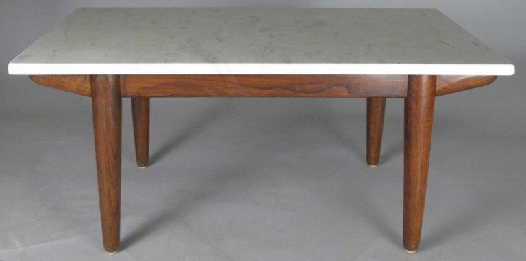 Scandinavian Vintage Oak Base Italian Marble Coffee Table For Sale