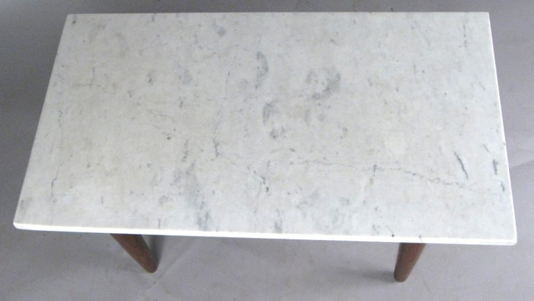 Vintage Oak Base Italian Marble Coffee Table In Good Condition For Sale In Hudson, NY