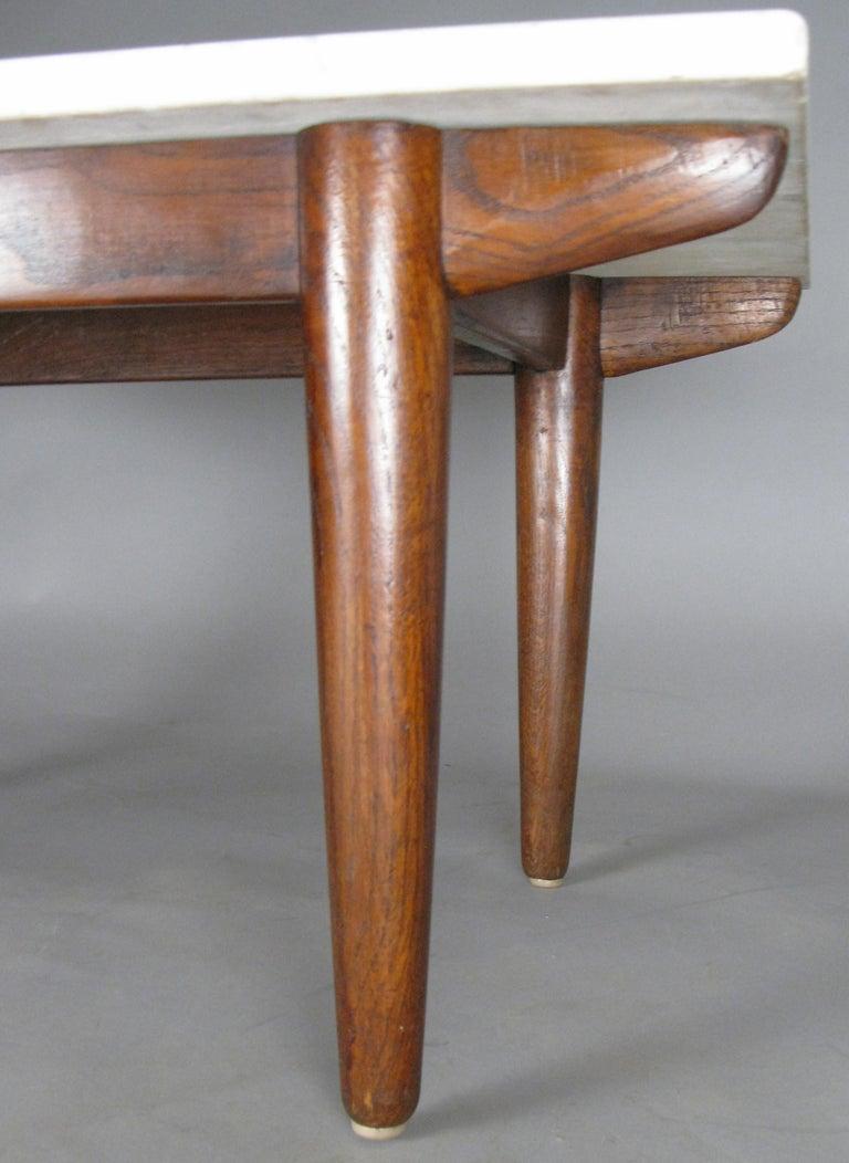 Mid-20th Century Vintage Oak Base Italian Marble Coffee Table For Sale