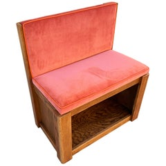 Vintage Oak Bench with Velvet Seat and Storage, Newly Upholstered