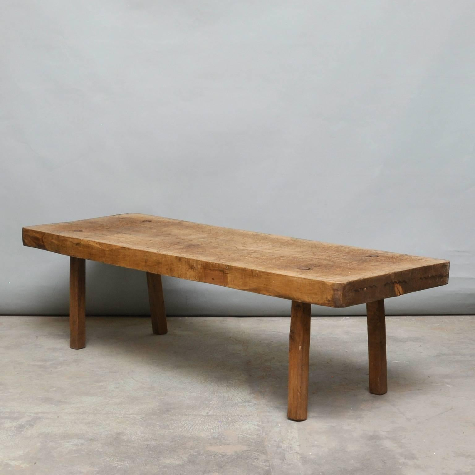 Vintage Oak Butchers Block Coffee TableBench 1930s at 1stdibs