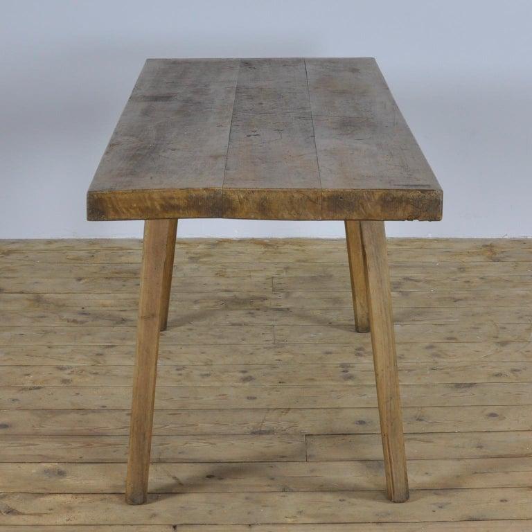 Industrial Vintage Oak Butcher's Block Table or Farm Table, 1930s For Sale