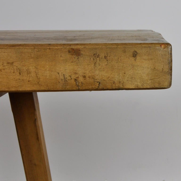 Vintage Oak Butcher's Block Table or Farm Table, 1930s For Sale 1
