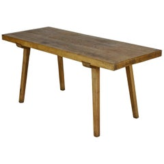 Vintage Oak Butcher's Block Table or Farm Table, 1930s
