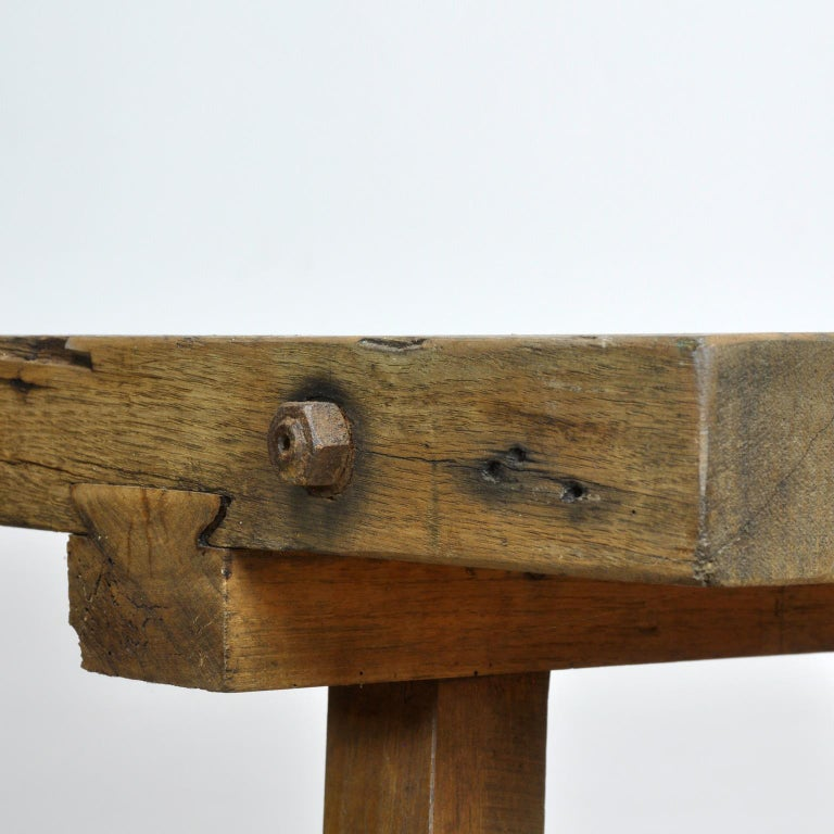 Vintage Oak Butcher's Table or Farm Table, 1930s For Sale 6