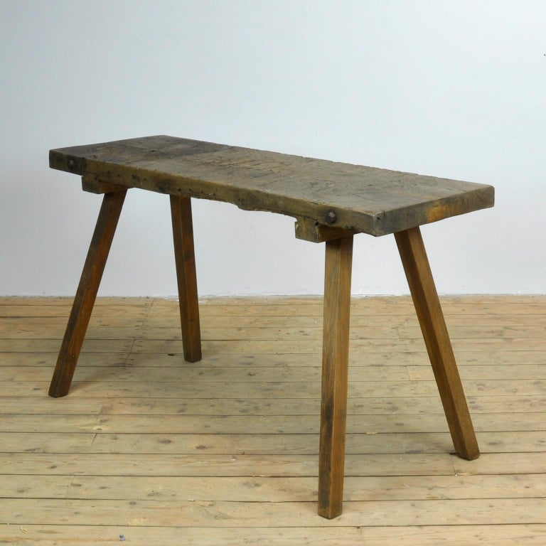 Industrial Vintage Oak Butcher's Table or Farm Table, 1930s For Sale