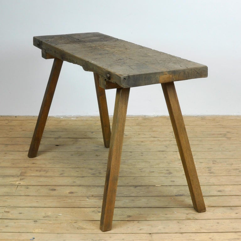 Hungarian Vintage Oak Butcher's Table or Farm Table, 1930s For Sale