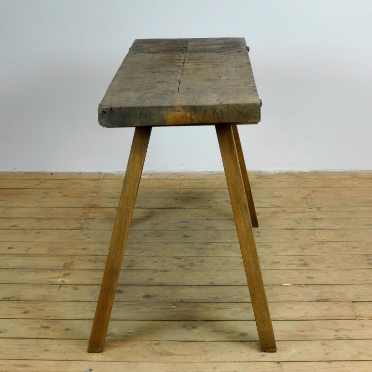 Vintage Oak Butcher's Table or Farm Table, 1930s In Good Condition For Sale In Amsterdam, Noord Holland