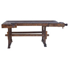 Vintage Oak Carpenters and Joiners Workbench